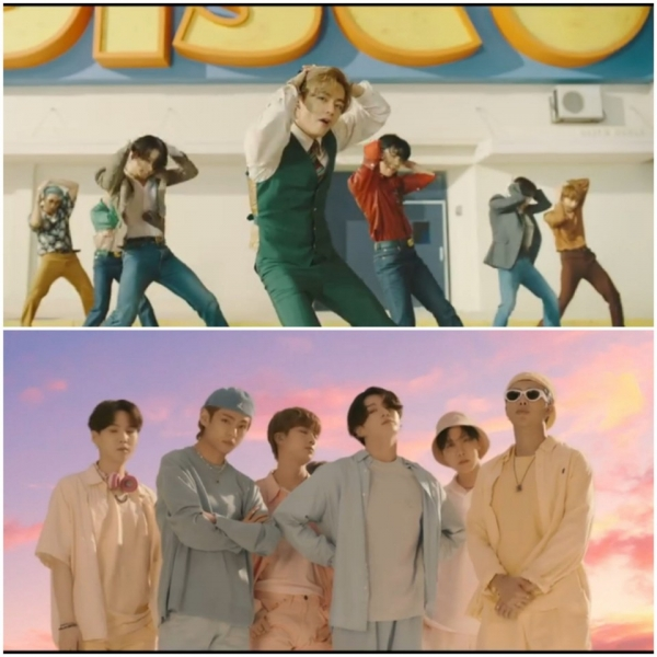 With the new song'Dynamite' released by BTS on the 21st, it broke the first record such as No. 1 in 100 countries in the shortest period on iTunes, and No. 1 in 100 countries for the first time in Korean and American songs/Photo = BTS'Dynamite' music video