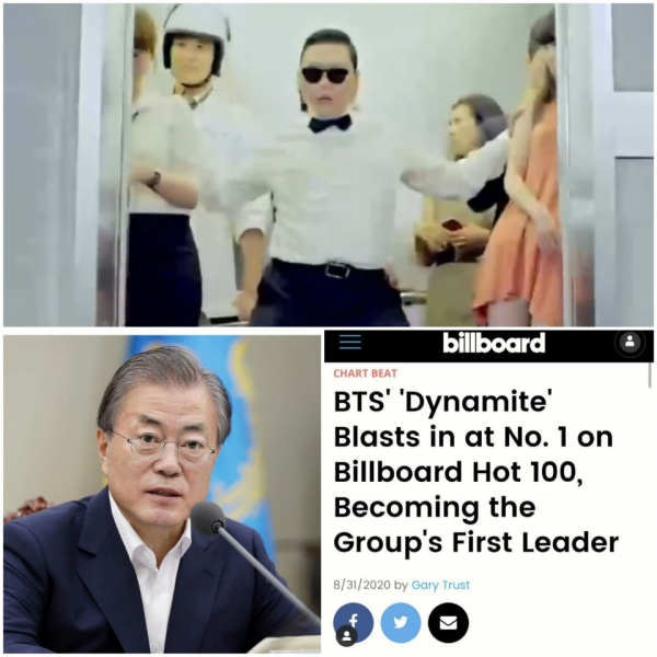 On the 1st, including singer Psy, who was in second place on the Billboard Hot 100 with'Gangnam Style' for 7 weeks in a row, President Moon Jae-in and poppera singer Lim Hyeong-ju congratulated the BTS on the 1st/Photo = Psy, Moon Jae-in, Lim Hyeong-ju SNS