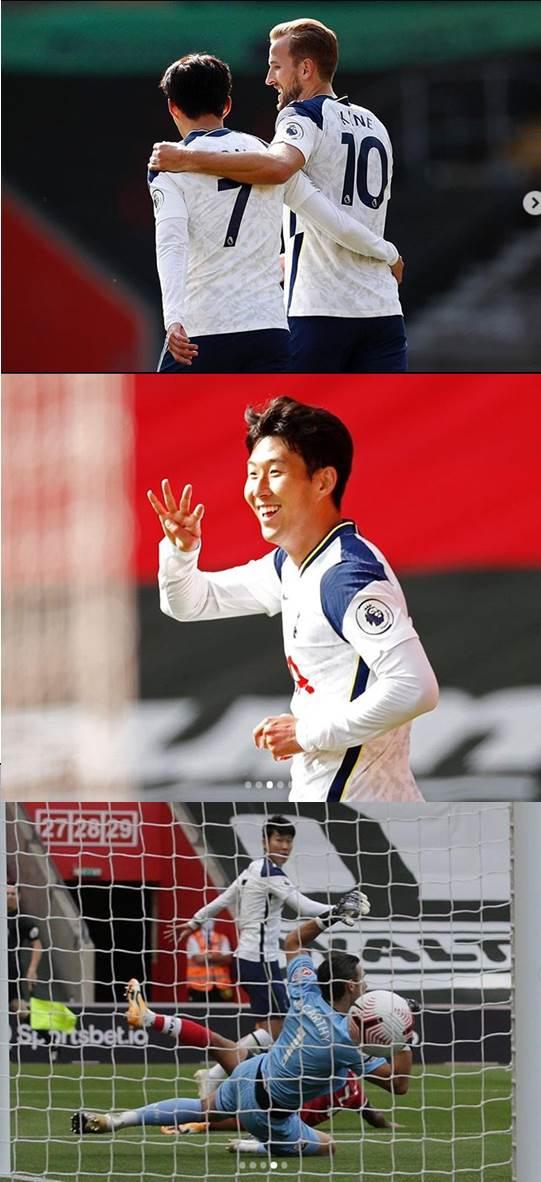 '4골 득점' 손흥민, 동료선수 케인과의 다정샷 공개