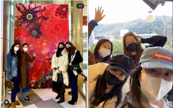 On the 20th, actor and writer Hye-young Lee released photos and videos of So-young Go, Jeong-eun Kim, and Hee-ae Kim who are looking for their art exhibition along with the article'Our Memories' on his SNS on the 20th./Photo = Lee Hye-young SNS